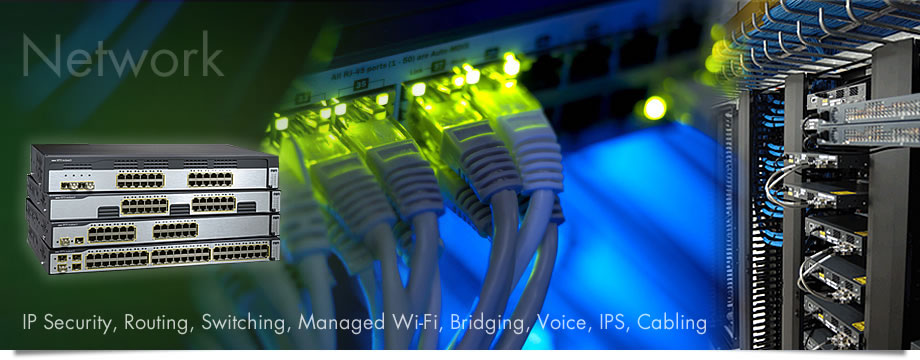 Network: IP Security, Routing,Switching, Managed Wi-Fi, Bridging, Voice, IPS, Cabling
