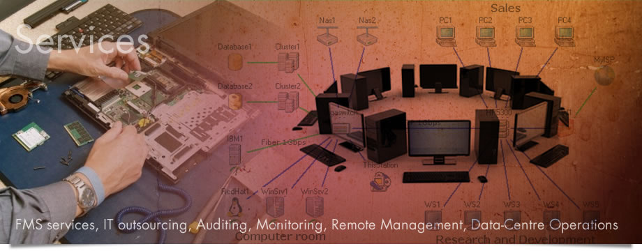 Services: FMS services, IT outsourcing, Auditing, Monitoring, Remote Management, Data-centre Operations